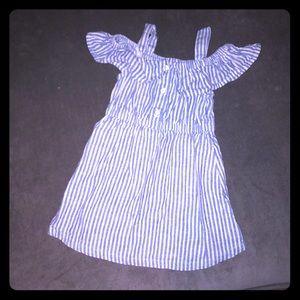 2T cold shoulder blue & white dress